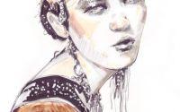 Portret desen de moda pretios in tehnica mixta