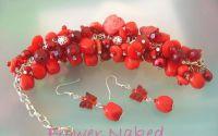 Bratara Red Cluster cu cercei