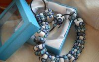 margele si cercei in nuante de albastru