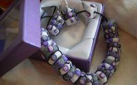 margele si cercei in nuante de violet