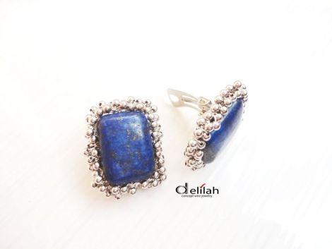 Cercei clips lapis lazuli