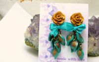 Roses Extravaganza - Teal  Antique Gold