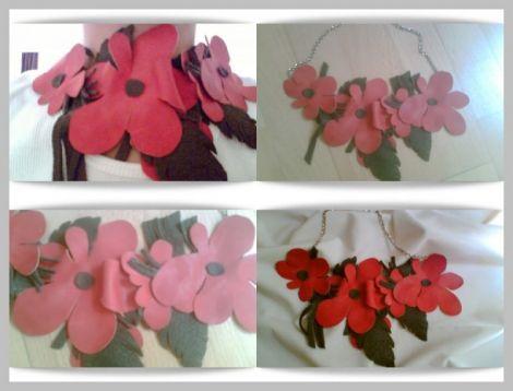 Colier flori rosii