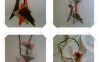 Colier cu modele geometrice gricrem si portocalii