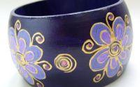Bratara lata - Violet flowers
