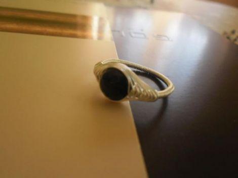 Inel herringbone cu onix