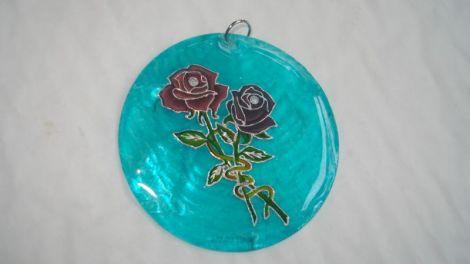 Pandantiv sidef cu trandafiri dark