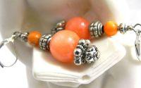 Cercei jad portocaliu si sidef