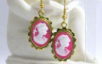 Cercei camee roz cu auriu