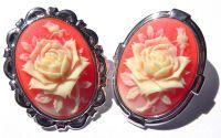 Brosa camee trandafir caramiziu
