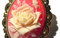 Brosa camee trandafir caramiziu placat aur
