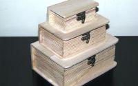 Set 3 cutii lemn natur carte model 1