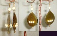 Cercei mari aurii cu margele albe