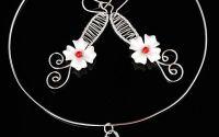 Colier si cercei flori albe