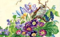 Servetel pasari si flori