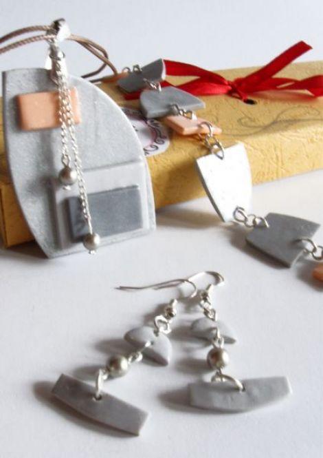 Set bijuterii handmade Soft Grey
