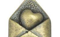 Charm plic cu inimioara bronz antichizat