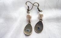 Cercei eleganti lacrima bronz si perle naturale