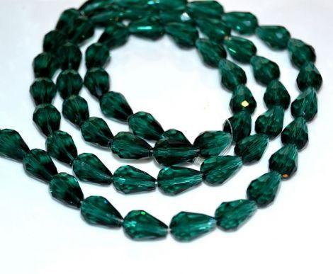 Margele cristal lacrima verde Smarald 16 x 10 mm