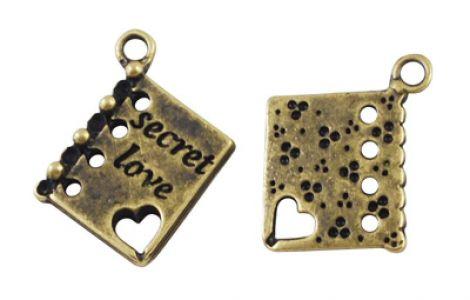 Pandantiv carte Secret love bronz antichizat