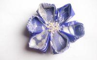 Clama EvenStar floare kanzashi perle cristale