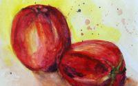 Mere Rosii - pictura acuarela