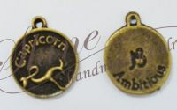 Charm zodia Capricorn bronz antichizat