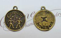Charm zodia Gemeni bronz antichizat