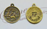 Charm zodia Fecioara bronz antichizat