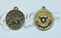 Charm zodia Taur bronz antichizat