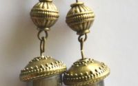 Cercei sticla de murano bej cu auriu