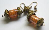 Cercei sticla de murano portocaliu si auriu
