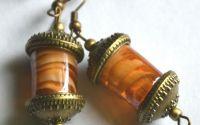 Cercei murano portocaliu cu auriu