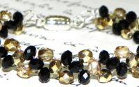 Bratara de cristale negre si fire polish aurii