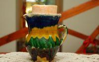 Cana ceramica decorata-suport lumanare